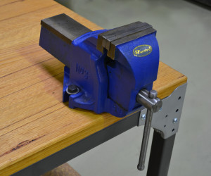 Vice fitted to work bench
